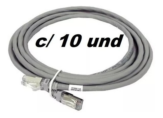 Patch Cord Cinza 1,5m Cat5 - Kit Com 10 Unidades
