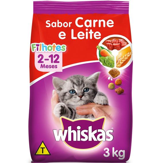 Ração Whiskas Carne E Leite Para Gatos Filhotes - 3 Kg