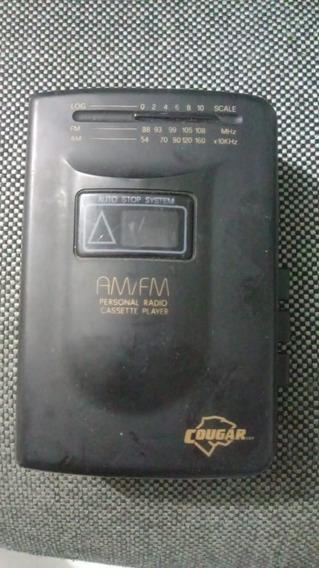 Rádio Am/fm C/ Toca Fitas Cassete Auto Stop Cougar Wm2-ss