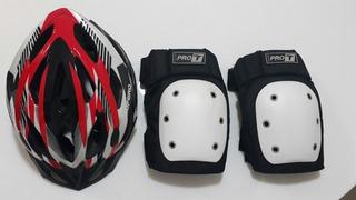 Capacete Joelheira Traxart Esportem Skate Bike Supremo G Led