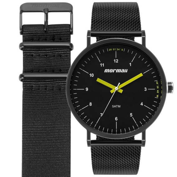 Relógio Mormaii Masculino Preto Duas Pulseiras Mo1l32aa/t4p