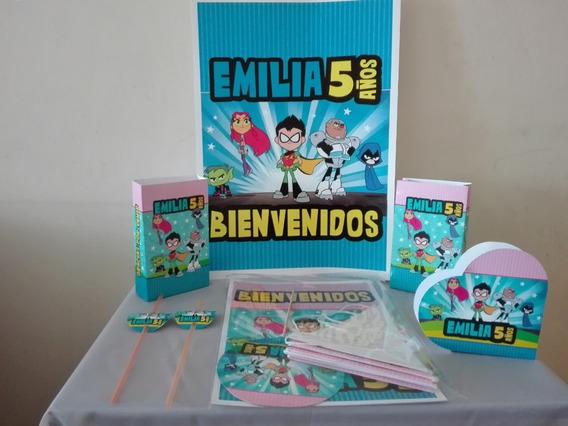 Combo Cotillón Personalizado Infantil X20 Titanes+2 Carteles