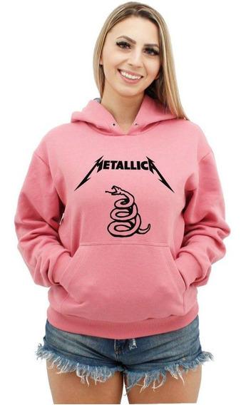 Moletom Feminino Canguru Premium Metallica Black Álbum