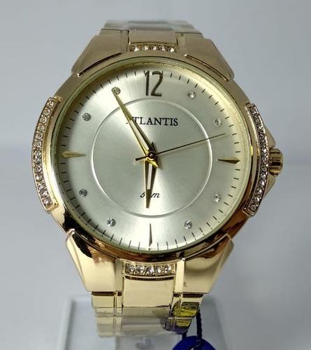 Relógio Atlantis Dourado Fundo Prata Com Strass - G3414
