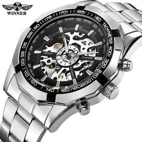 Relógio Winner Prata Skeleton Automático Luxo Inox Promoção
