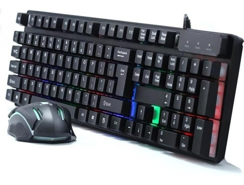 Combo Teclado Y Mouse Gamer 190i Cmk 188 Luces Cable 150cm
