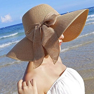 Oulii Summer Floppy Beach Straw Sombreros Bowknot Caps Wide