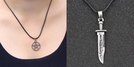Kit Colar Supernatural Pentagrama + Faca De Matar Demonios