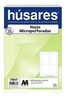 Resma Papel A4 Husares 7847 Microperforada En Cruz Blanco