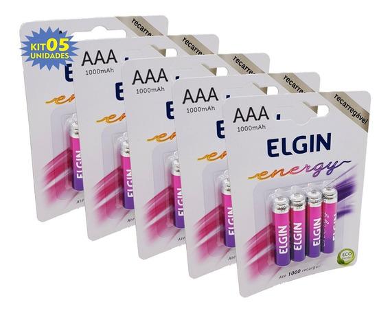 20 Pilhas Recarregável Aaa 1000mah Palito C/4 Elgin Original