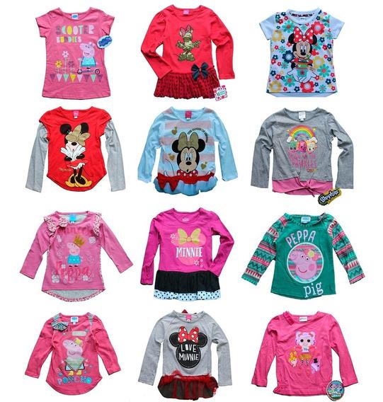 Lote 5 Playeras Niña Disney Princesas Minnie Envio Gratis