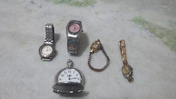 Lote De 05 Relógios Antigos Para Colecionador