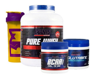 Kit Pure Whey 2 Kgs + Bcaa + Glutamina Giants Nutrition