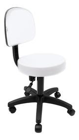 Cadeira Mocho Médio Para Maca De Estética Base Preta