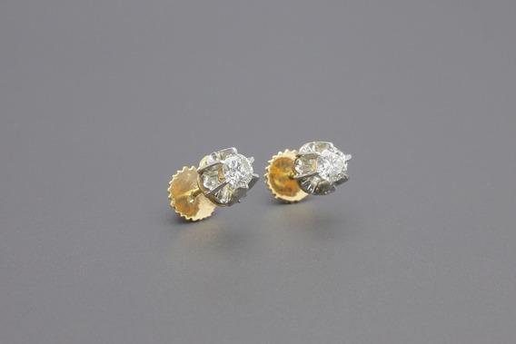 |1654| Brincos Solitários Ouro Amarelo E Branco Brilhantes