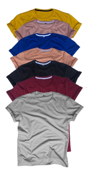 Kit 6 Camisas T-shirt Baby Look Básica Atacado 100% Algodão