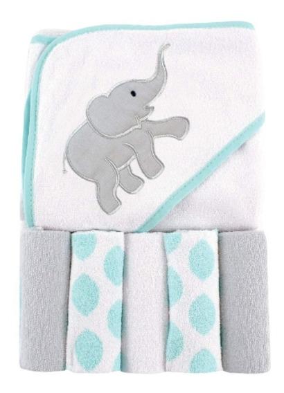 Toalla De Baño Bata Gorro Infantil Elefante + 5 Toallas