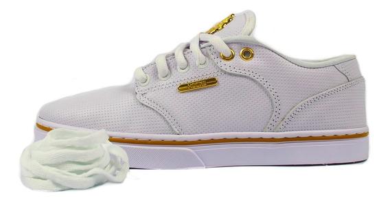 Tênis Feminino Hocks Montreal White/gold Original + Brinde