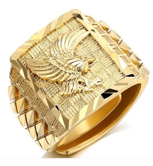 Anel De Luxo Masculino Cor De Ouro Grande Aguia + Porta Anel