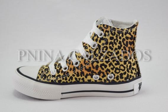 Botita Lona Animal Print Beige Roller 27 Al 34