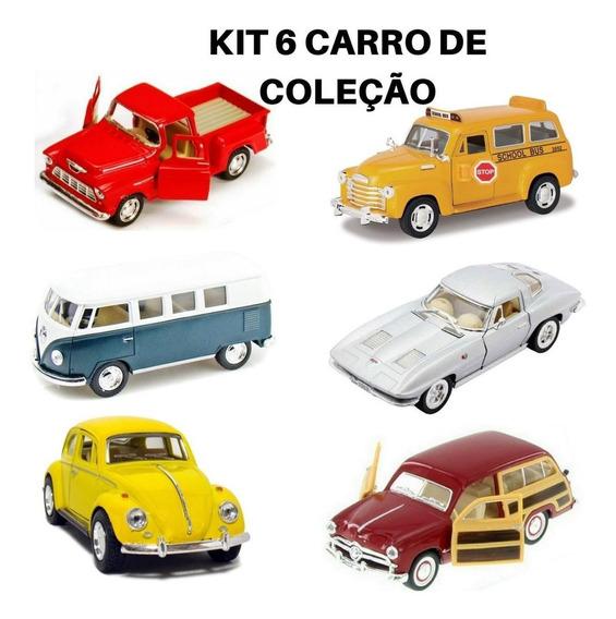 Kit 6 Miniatura Carrinho Coleção Antigo 1:32 Ferro Nacional