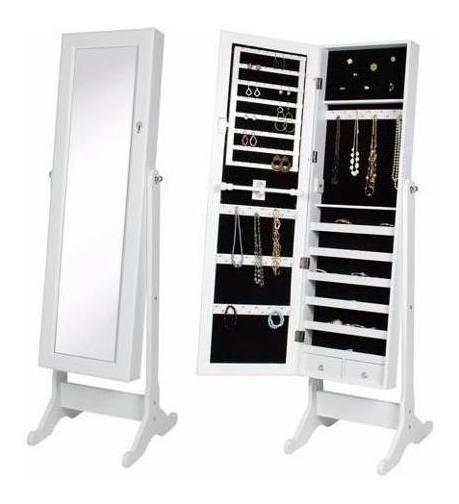 Joyero Organizador Armario Espejo Alhajero Blanco 2 Cajones