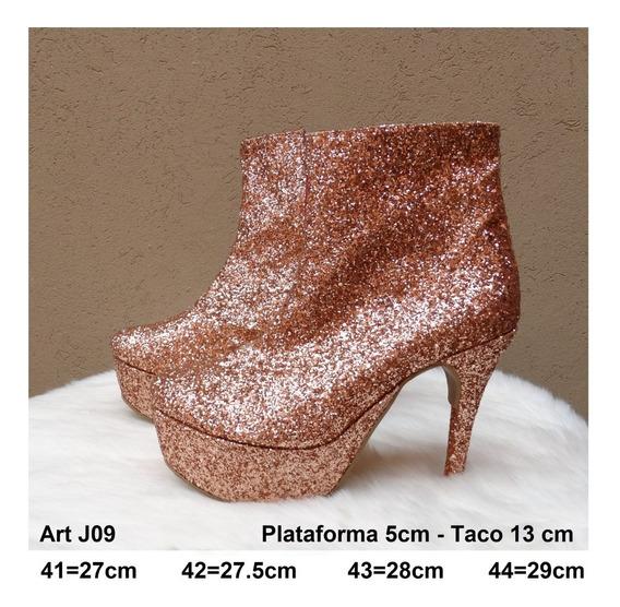 Botineta Glitters Taco - Talle Grande 41 42 43 44 - Art J09