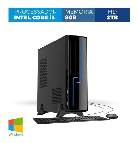 Computador Corporate Slim Core I3 8gb 2tb Win Kit Tec E Mou