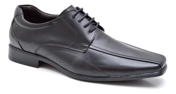 Sapato Social De Amarrar Masculino Em Couro Fork 8902 - Pret