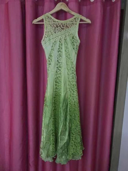 Vestido Social Midi Verde Com Renda Tamanho P