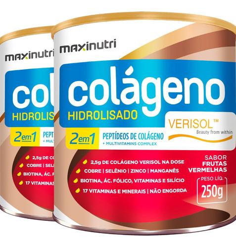 2 Latas Colágeno Verisol Frutas Vermelhas 250g Maxinutri