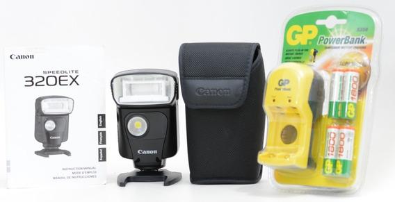 Flash Canon 320ex - Zerado Nota 10 !!! Gratis Bateria E Carr