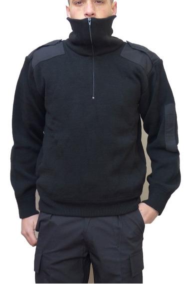 Tricota Negra Forrada Policía Con Cierre