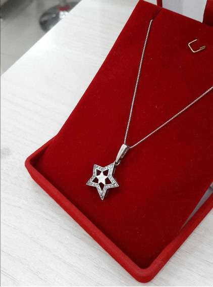 Colar Feminino Prata 950 Estrela 50 Cm Pedras Zirconia
