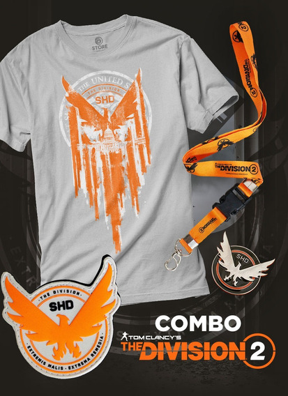 Combo The Division 2 Pin Patch Cordão E Camiseta Masculina