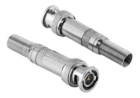 Kit 100 Conector Bnc Mola Intelbras Para Câmera De Segurança