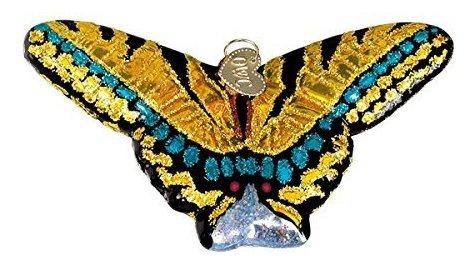 Viejo Mundo De Navidad Swallowtail Mariposa Vidrio Soplado O