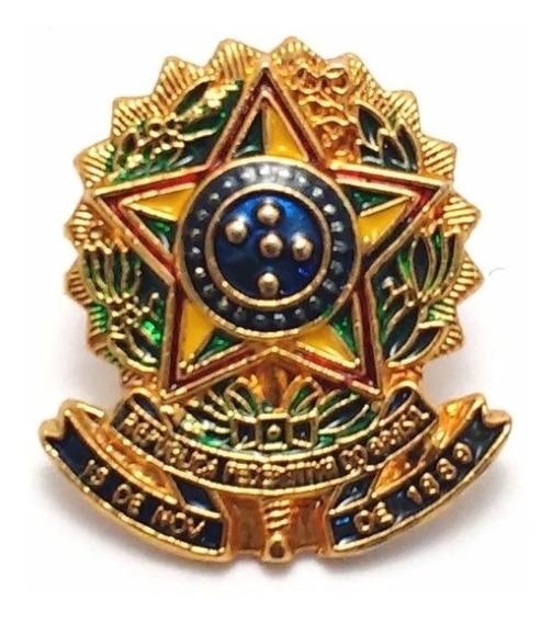Pim Bótom Broche Brasão Da República Brasil Chapeado A Ouro