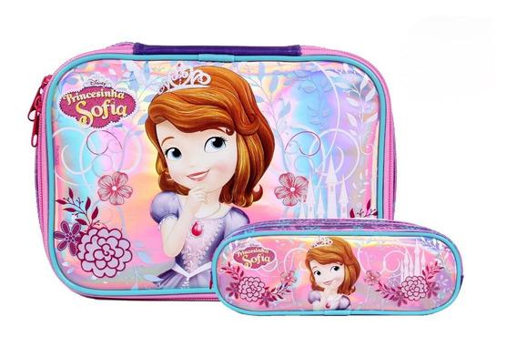 Kit Necessaire Princesinha Sofia 52168+estojo Escolar Triplo