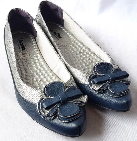 Sapatilha Usaflex Original Azul E Prata Com Flor Número 37