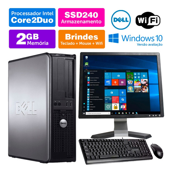 Computador Usado Dell Optiplex Int C2duo 2gb Ddr3 Ssd240 17q