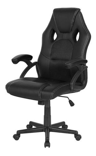 Imagen 1 de 1 de Silla de escritorio Desillas pro gamer momentum gamer ergonómica  negra con tapizado de cuero sintético y mesh