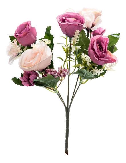 Flor Artificial Galho Plástico Tecido Decoração 28cm