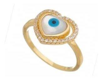 Anel Semi Jóia Dourado Coração Olho Grego