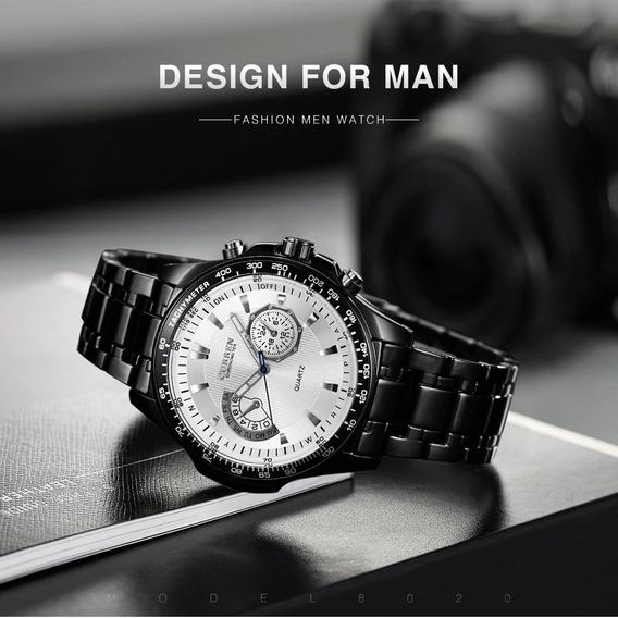 Relógio Masculino Curren 8020 Quartz Fundo Branco