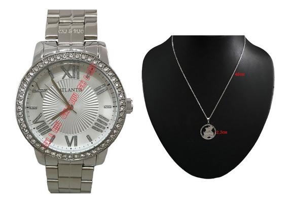 Promocão Relógio Feminino Prateado Diamante+corrente+caixa