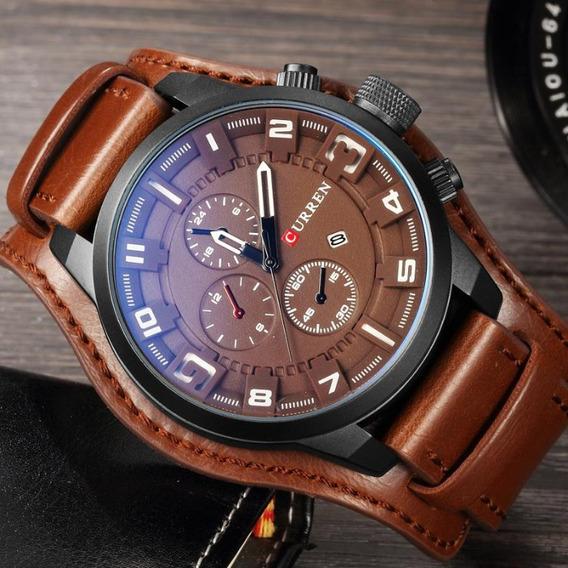 Relógio Curren 8225 Masculino Pulseira Couro Original
