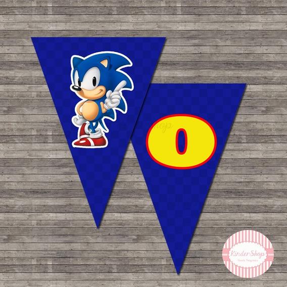 Sonic Banderín Impreso X Solapa O Letra