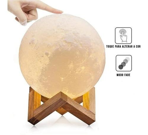 Luminária Lua Cheia 3d Abajur Touch 15cm Cores Touch