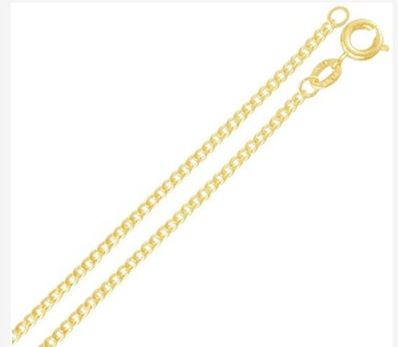 Corrente Cordão Feminino Grumet 60cm Banhado A Ouro 18k